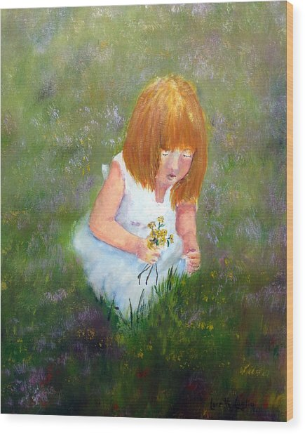 Girl In The Meadow Wood Print