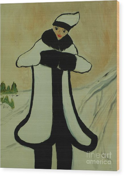 Girl In The Snow Wood Print by Marie Bulger