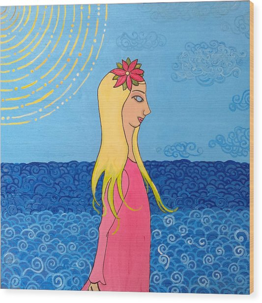 Girl In The Water Wood Print