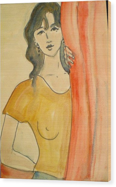 Girl Looking Through The Curtain Wood Print by Maria Rosaria DAlessio