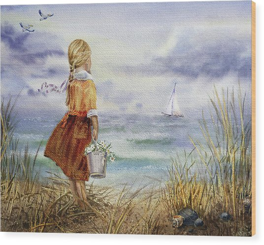Girl Ocean Shore Birds And Seashell Wood Print