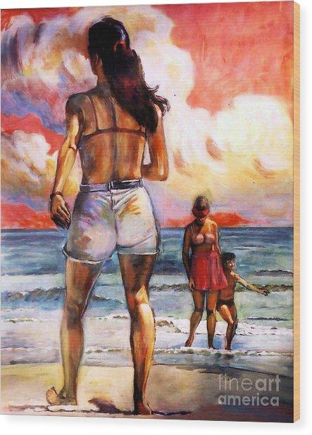 Girl On The Beach Wood Print