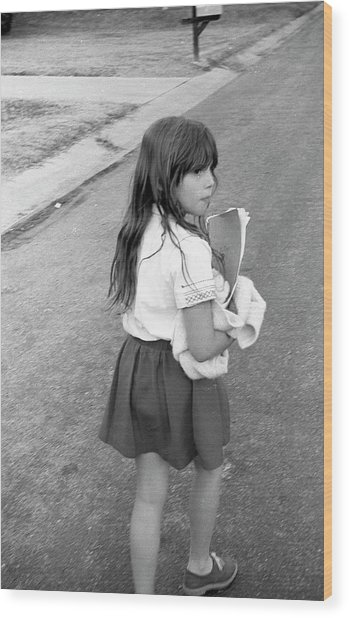 Girl Returns Home From School, 1971 Wood Print