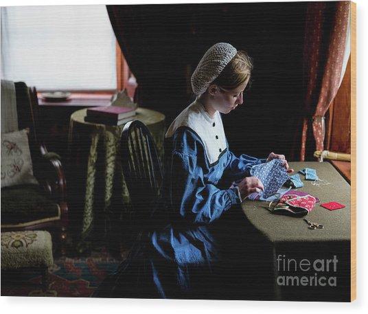 Girl Sewing Wood Print