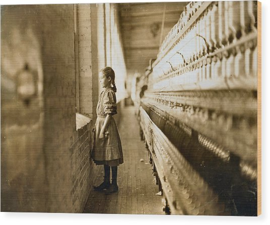 Girl Spinner 11 Years Old Rhodes Manufacturing Co Lincolnton 1908 Wood Print