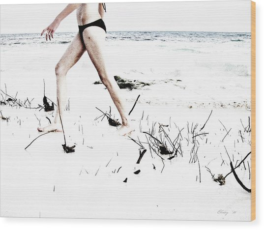 Girl Walking On Beach Wood Print