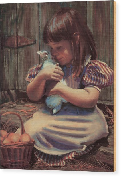 Girl With A Bunny Wood Print