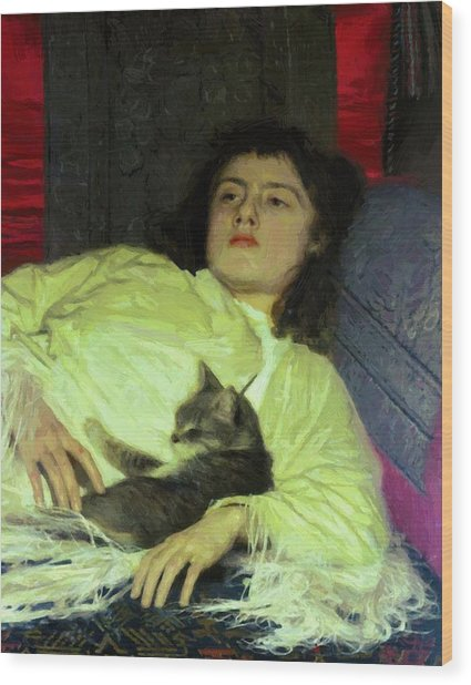 Girl With A Cat 1882 Wood Print