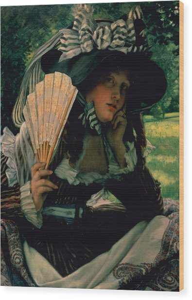 Girl With A Fan Wood Print