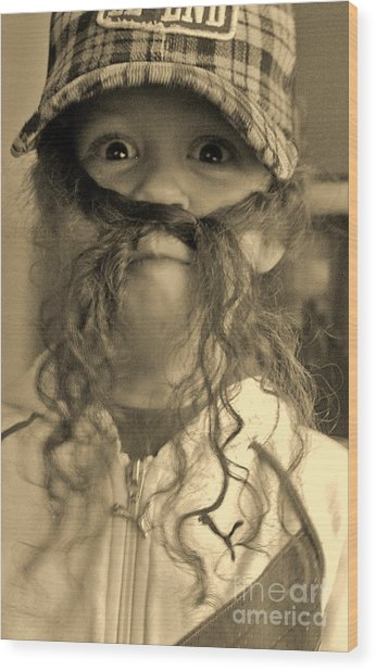 Girl With A Mustache 1 Wood Print by Sarah Goodbread