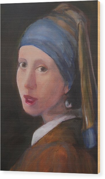 Girl With A Pearl Earring - Reproduction Wood Print by Lisa Konkol