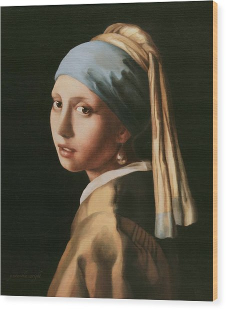 Girl With A Pearl Earring - After Vermeer Wood Print