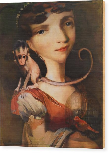 Girl With A Pet Monkey Wood Print
