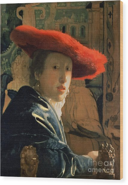 Girl With A Red Hat Wood Print
