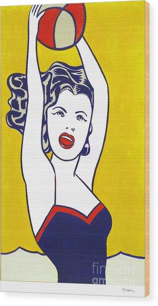 Girl With Ball - Pop Art - Roy Lichtenstein Wood Print