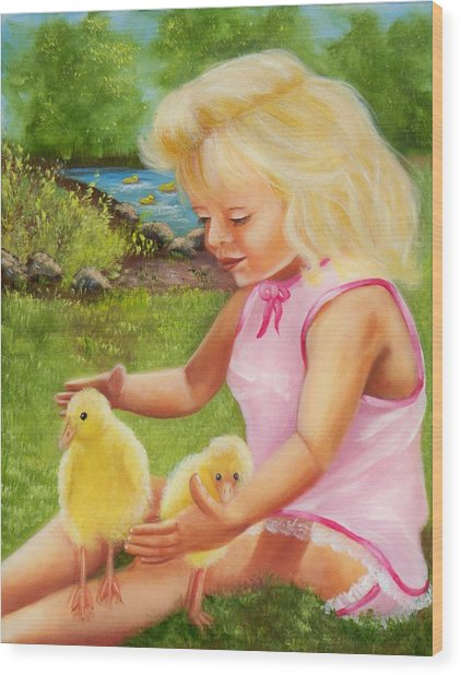 Girl With Ducks Wood Print by Joni McPherson