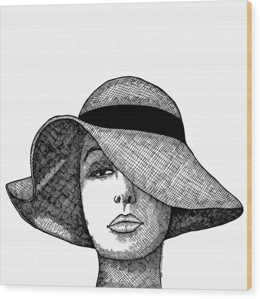 Girl With Fancy Hat Wood Print by Karl Addison