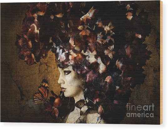 Girl With Flower Hat Wood Print