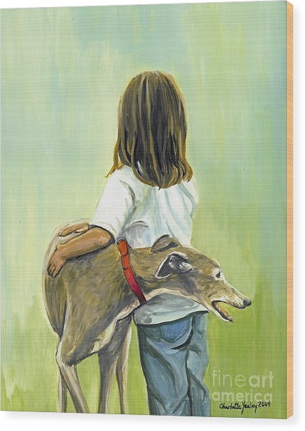 Girl With Greyhound Wood Print