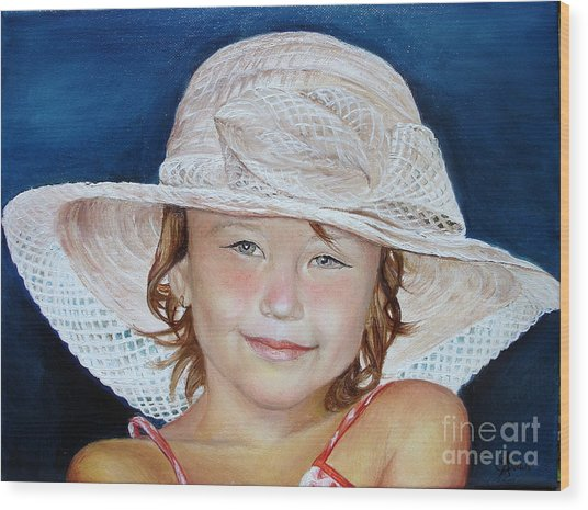 Girl With Hat Wood Print