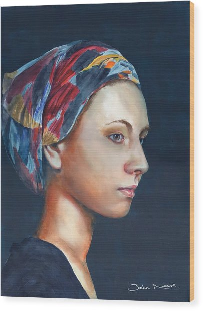 Girl With Headscarf Wood Print