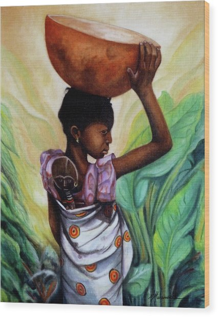 Girl With Her Doll Wood Print by Marcella Muhammad