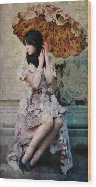 Girl With Parasol Wood Print