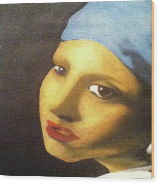 Wood Print featuring the painting Girl With Pearl Earring Face by Jayvon Thomas