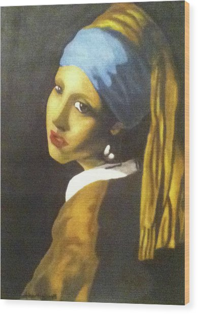Wood Print featuring the painting Girl With Pearl Earring by Jayvon Thomas
