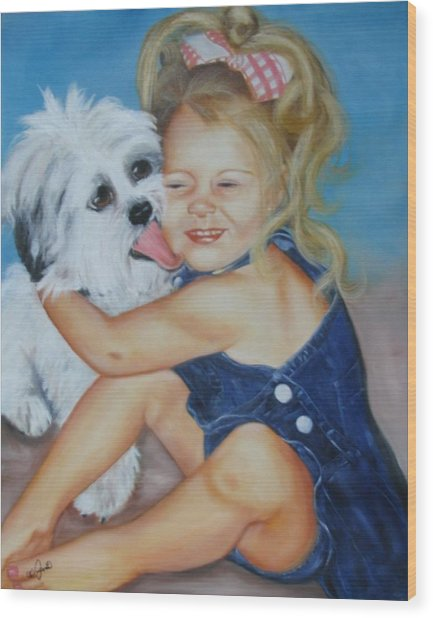 Girl With Puppy Wood Print