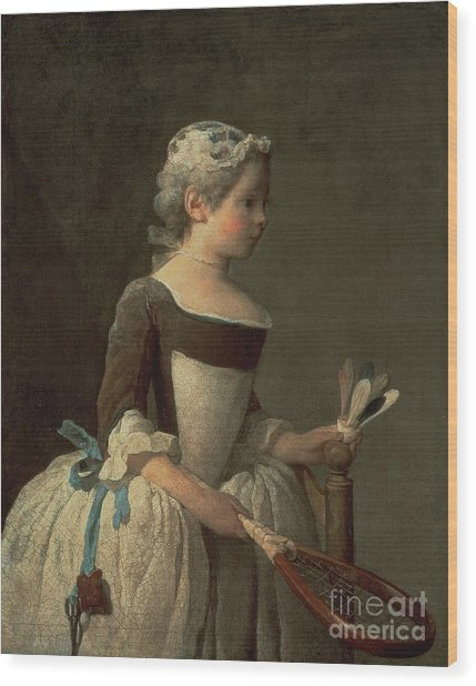 Girl With Racket And Shuttlecock Wood Print