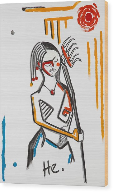 Girl With Rake 36x24 Wood Print
