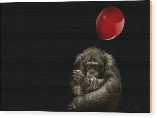 Girl With Red Balloon Wood Print
