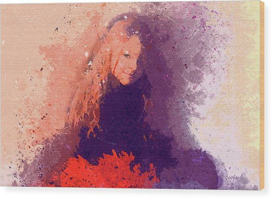 Girl With Red Flowers 2 Wood Print