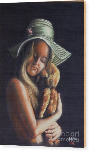 Girl With Teddy Wood Print