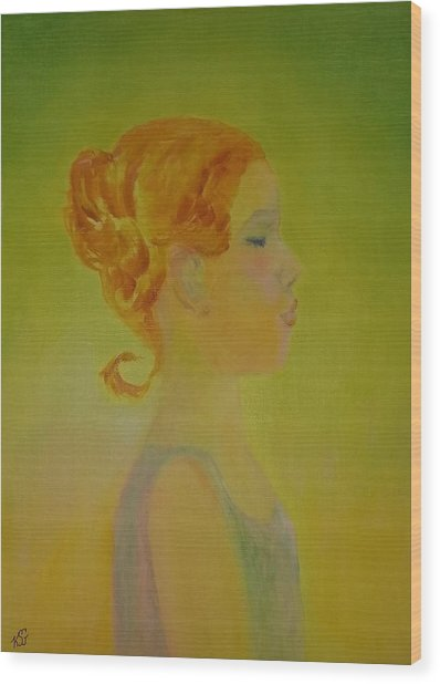 The Girl With The Curl Wood Print