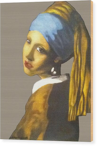 Wood Print featuring the painting Girl With The Pearl Earring No Background by Jayvon Thomas