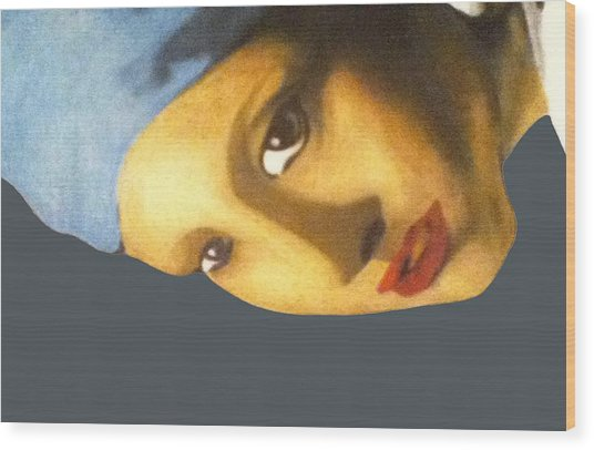 Wood Print featuring the painting Girl With The Pearl Earring Side by Jayvon Thomas