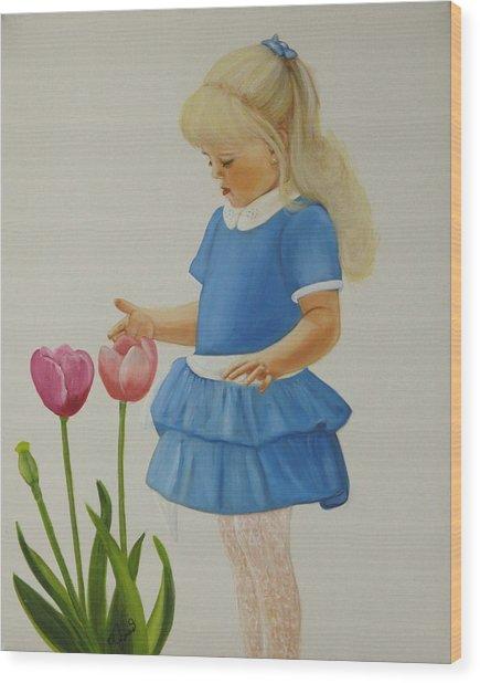 Girl With Tulips Wood Print by Joni McPherson