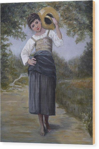 Girl With Water Jug Wood Print