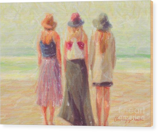 Girlfriends At The Beach Wood Print