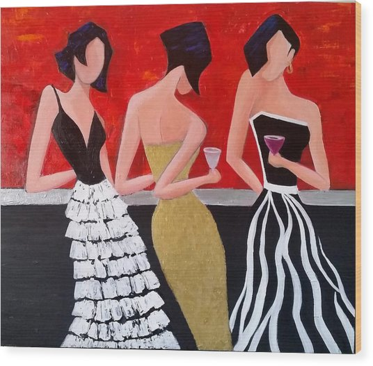 Girl's Night Out Wood Print