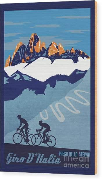 Giro D'italia Cycling Poster Wood Print