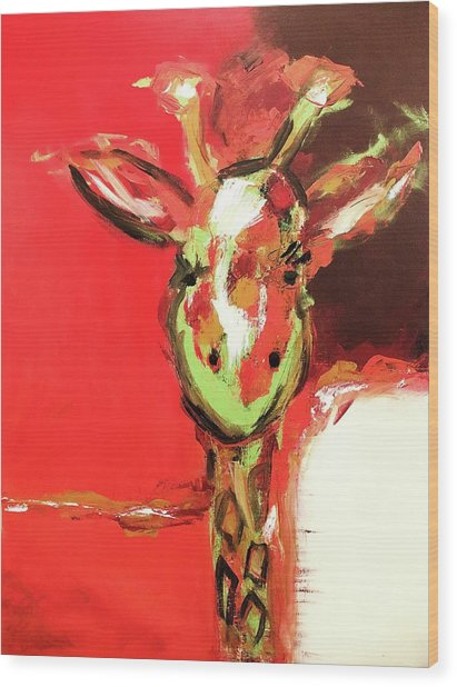 Giselle The Giraffe Wood Print