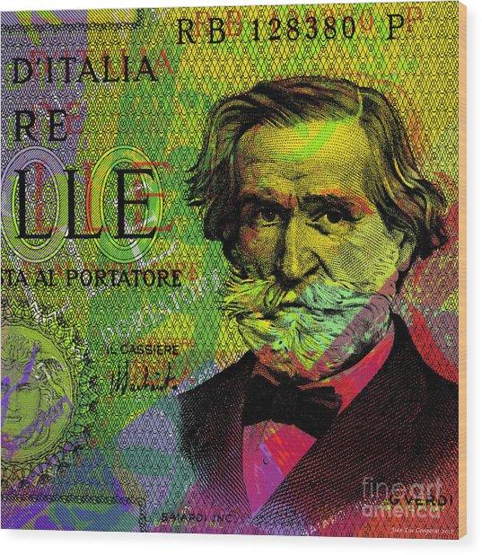 Giuseppe Verdi Portrait Banknote Wood Print
