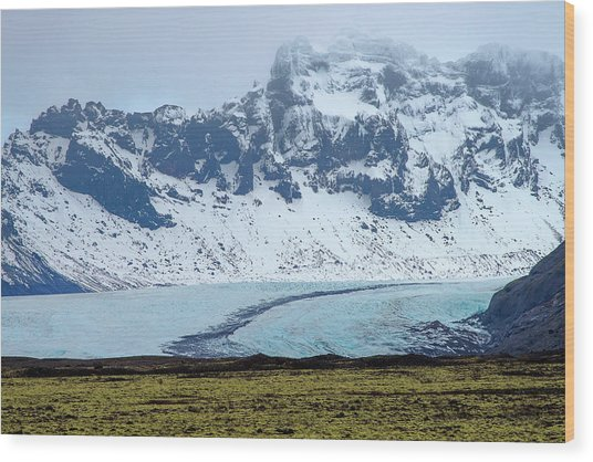 Wood Print featuring the photograph Glacier And Mountain, Iceland by Pradeep Raja PRINTS