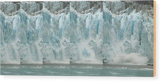 Glacier Calving Sequence 2 V1 Wood Print