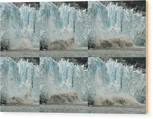 Glacier Calving Sequence 3 Wood Print