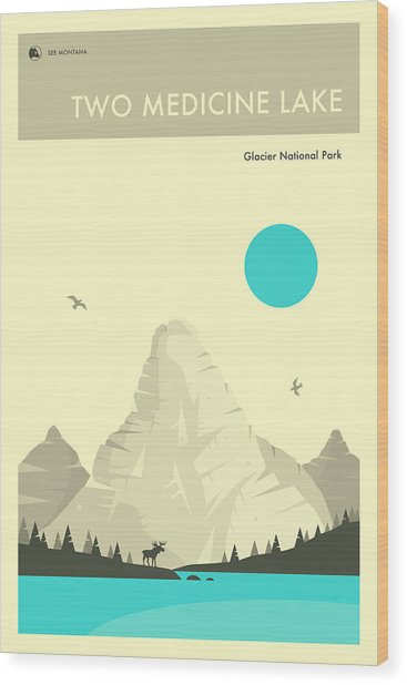 Two Medicine Lake Wood Print by Jazzberry Blue