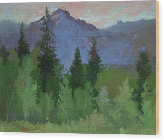 Glacier Nat'l Park - Plein Air -  Rising Wolf Ranch Wood Print